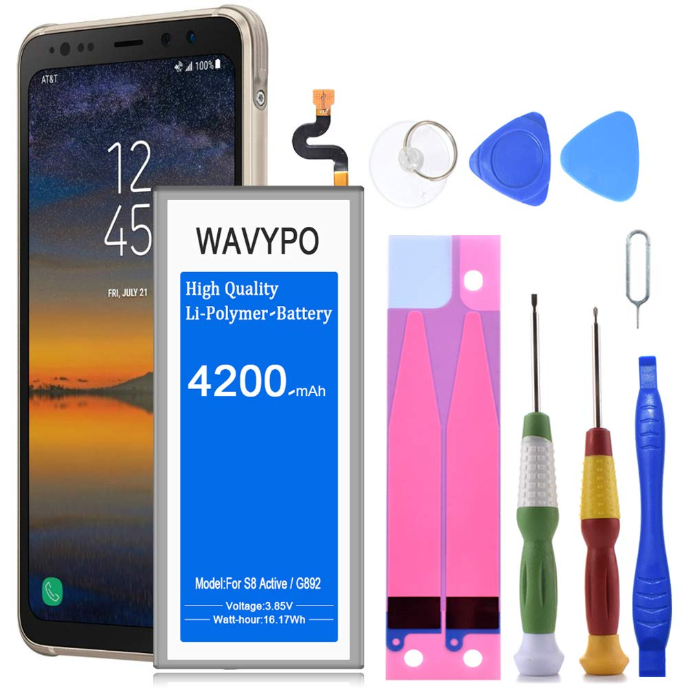 Wavypo Galaxy S8 Active Battery, 4200mAh Lithium Polymer Battery Replacement for Samsung Galaxy S8 Active EB-BG892ABE SM-G892, SM-G892A with Repair Toolkit [24 Month Warranty] by Wavypo