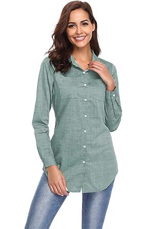 21d55d1d21b Argstar Women's Chambray Button Down Shirt Long Sleeve Jeans Top ,Green,X-Small