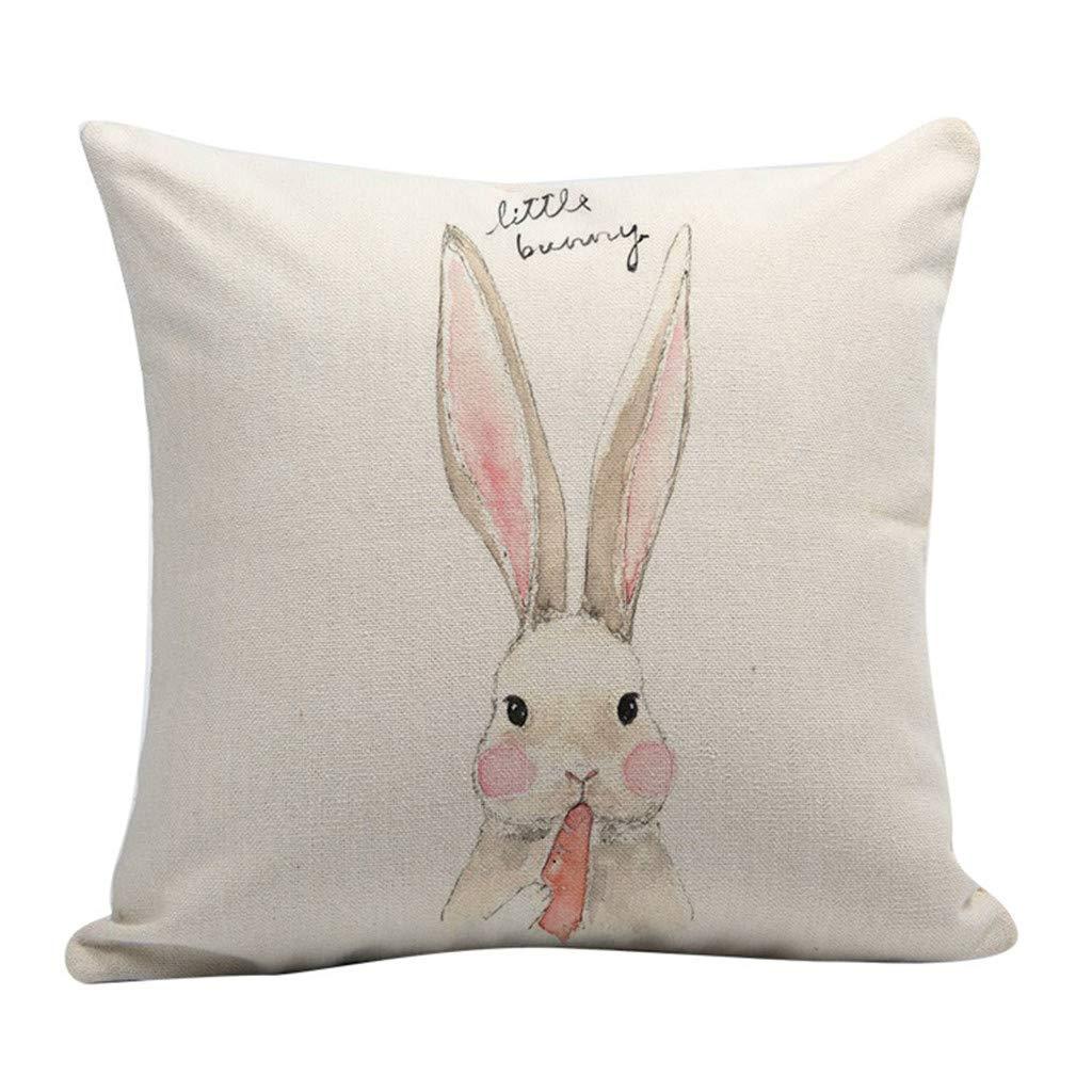 Landsuy Easter Rabbit Sofa Bed Home Decoration Festival Bunny Throw Pillow Case Cushion Cover(E,45x45cm)