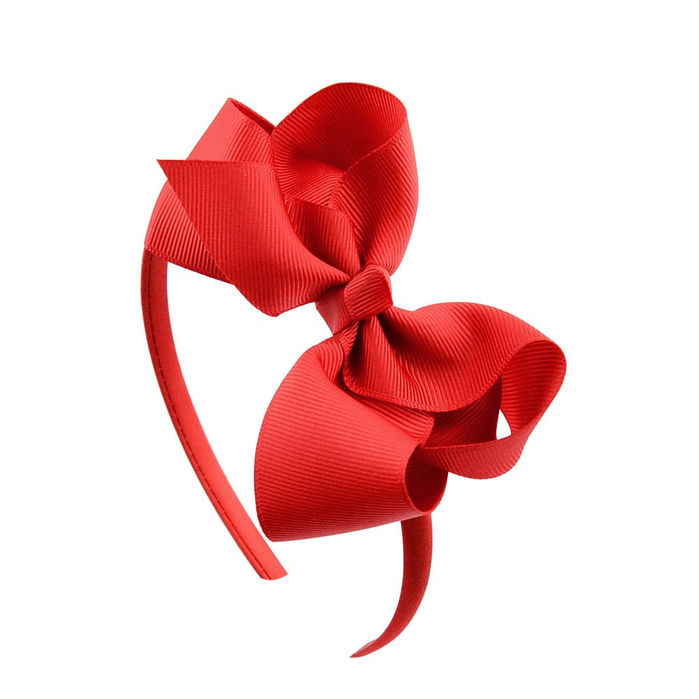 Bow headband Large Bowknot Hair Hoop for Girls, Comfortable No Hurt Rib Fabric Headpiece Hair Band for Halloween Christmas Party Cosplay Costume Daily Decor Accessories(Red)