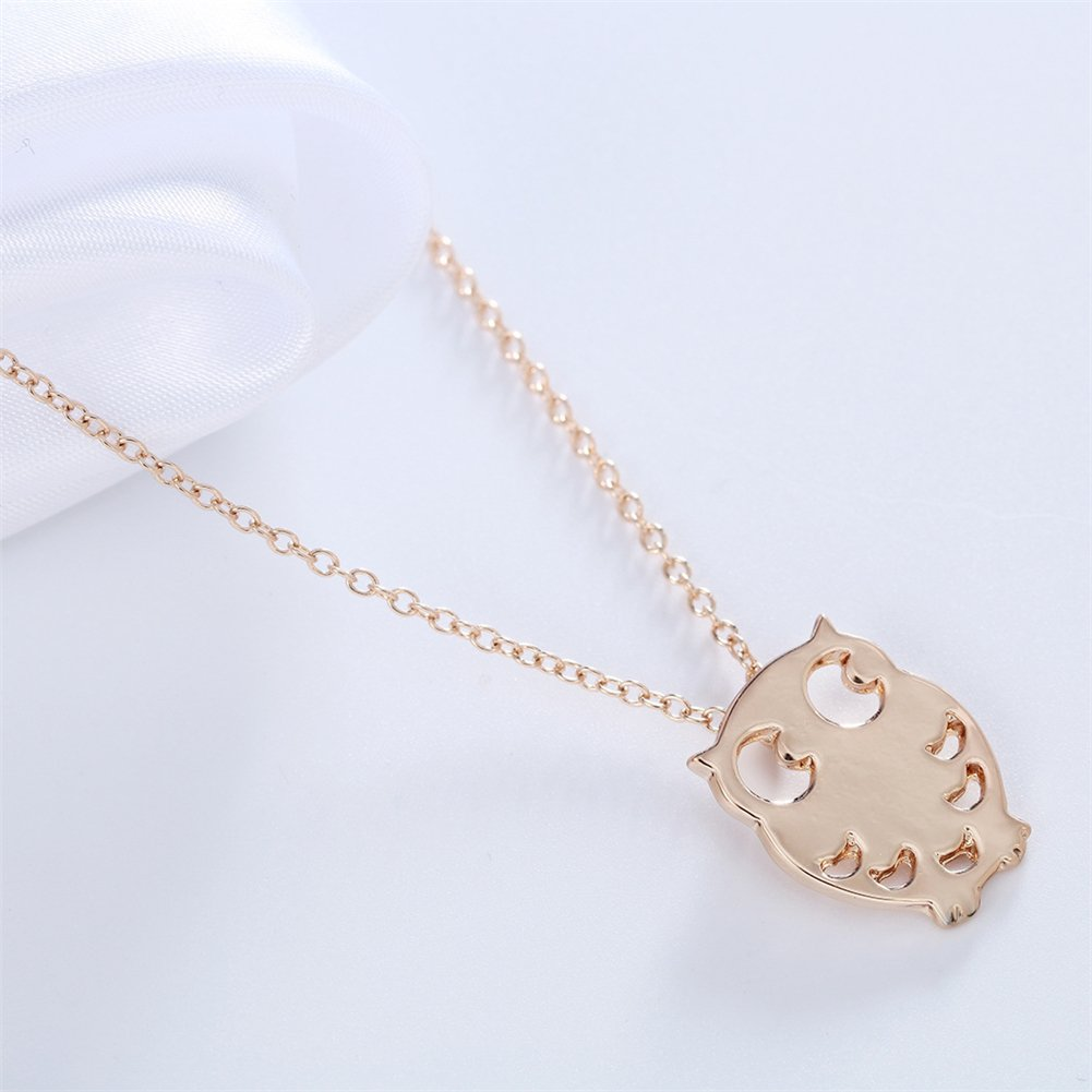 MUZHE Gold Tiny Owl Pendant Neckalce for Women|Fasion Cute Silver Animal Jewelry for Girls