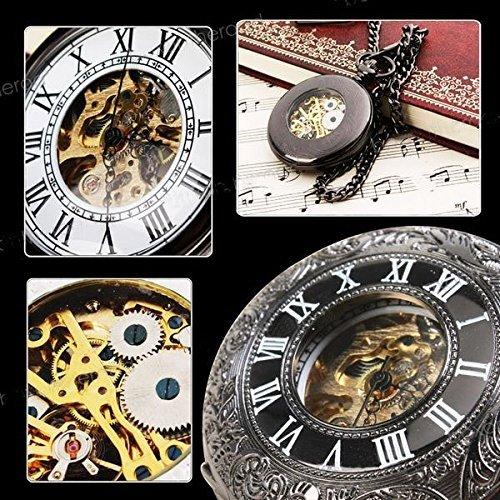 Classic Steampunk Roman Dial Mechanical Skeleton Steel Mens Black Windup Pocket Watch