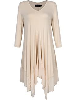 b4bddec5d610 AMZ PLUS Womens Plus Size Irregular Hem Short Sleeve Loose Shirt Dress Top