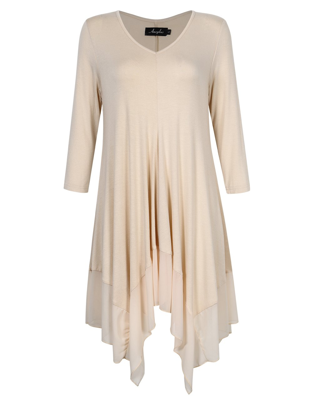 AMZ PLUS Womens Plus Size Irregular Hem Short Sleeve Loose Shirt Dress Top X2-Q3U1-P2F8