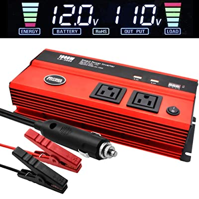 1000 Watt Inverter for Car Power Converter LncBoc Dual Ac Outlets 12V Dc to 110V Ac Modified Sine Wave Inverter With Usb Charger Battery Clips for Tablets, Laptop And Smartpho: Automotive