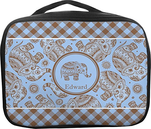 Gingham & Elephants Insulated Lunch Bag (Personalized) - Gingham Plaid Tote