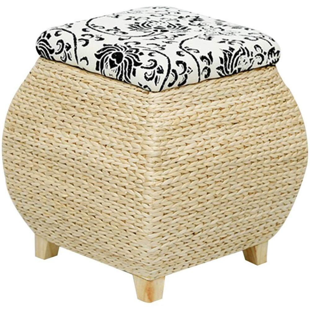 B 40X40X40CM BYPING Pouffes And Footstools Balcony Solid Wood Rattan Retro Can Sit Elegant Can Be Stored, Two Styles (color   A, Size   40X40X40CM)