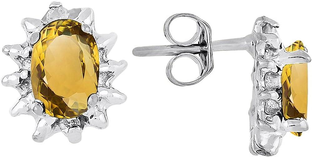 Pendientes de piedra natal de noviembre. Oro amarillo de 14 quilates o oro blanco de 14 quilates.