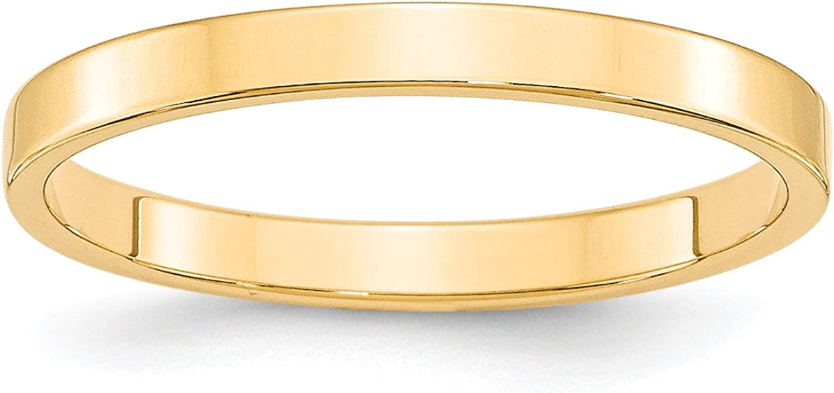 14k Yellow Gold 2.5mm Engravable Flat Band