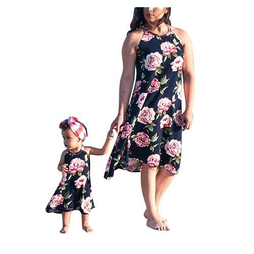 Keepwin Mother and Daughter Matching Dresses Halter Neck Sleeveless Beach Mini Dress