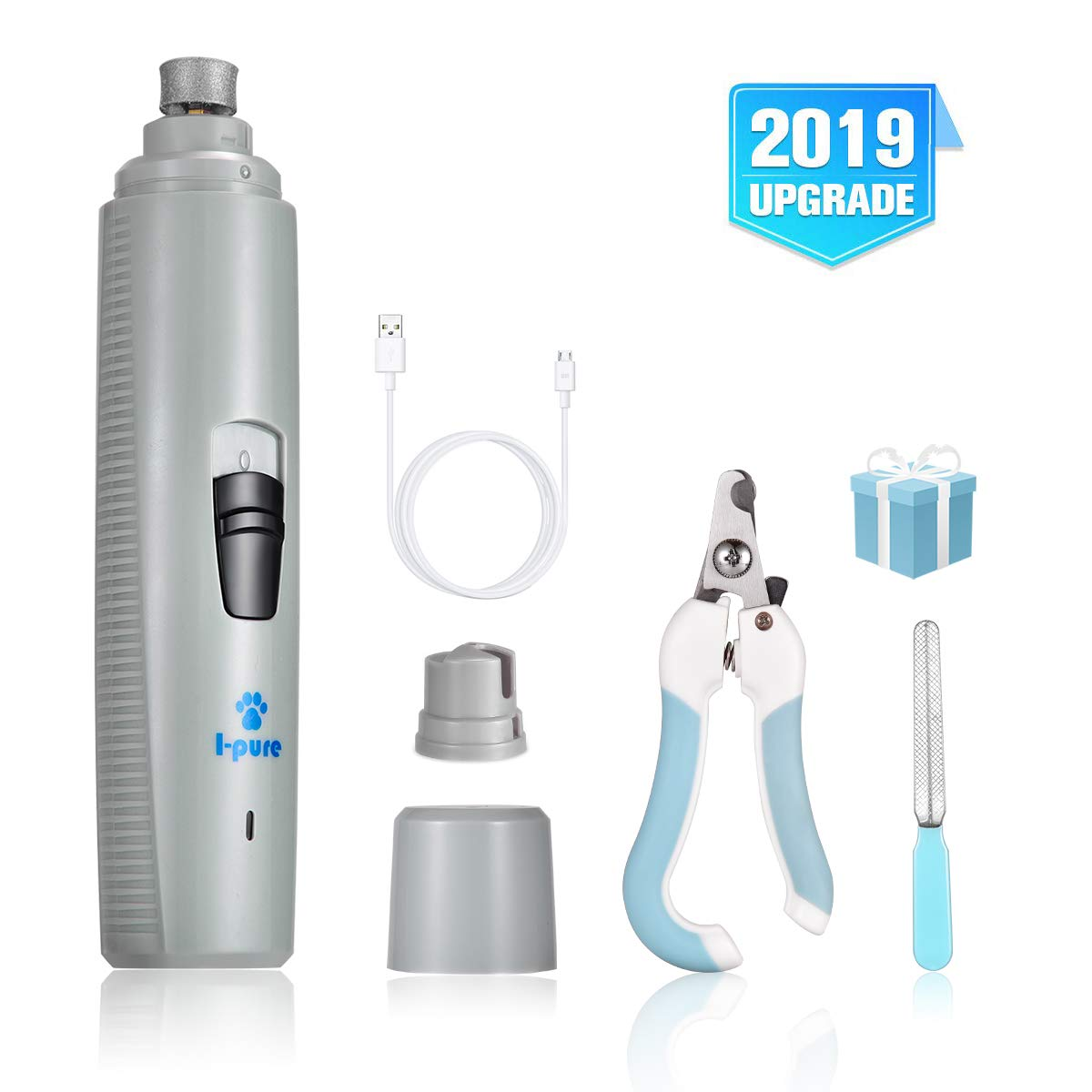 I-pure items Dog Nail Grinder - 2 Speed Pet Nail Grinder Grooming Kit - Electric Paw Trimmer Clipper File Small Medium Large Dogs Cats Portable & Rechargeable Gentle Painless Paws Grooming