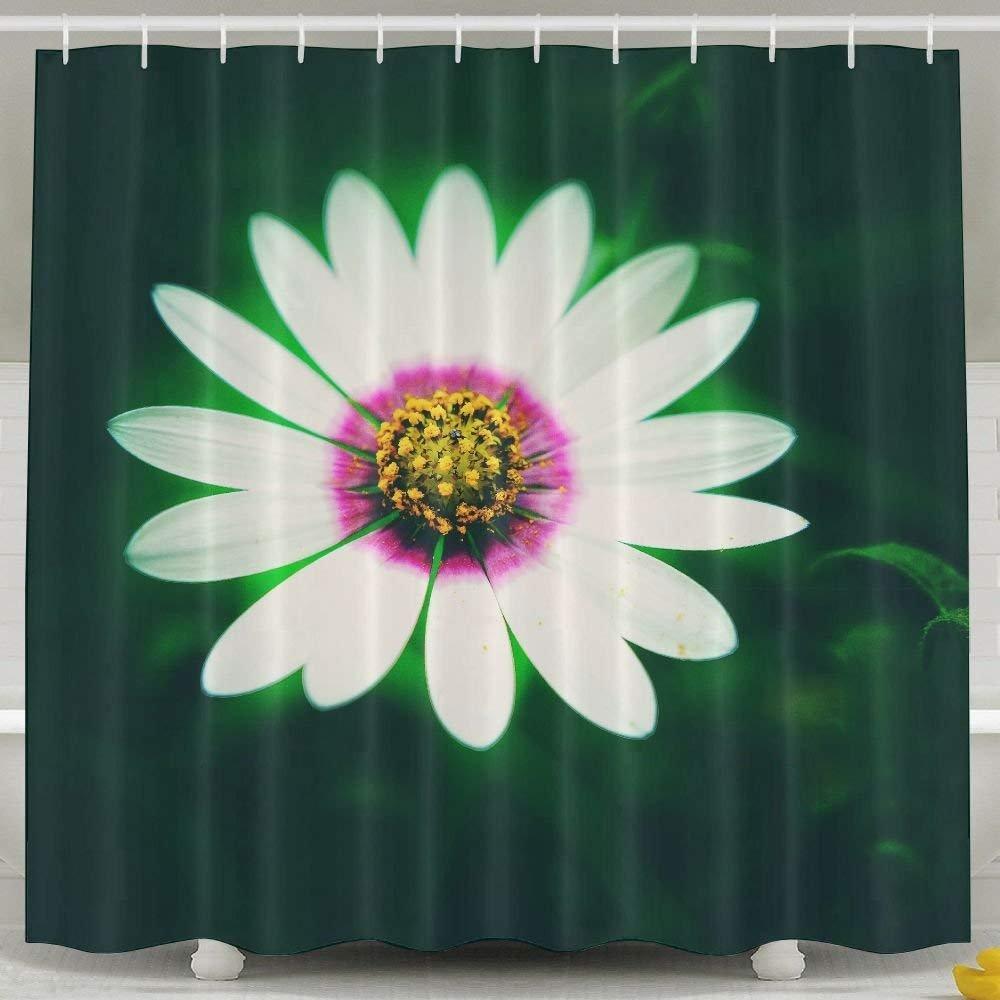 White Daisy Bath Curtains Waterproof Polyester Fabric Decorative Home Bathroom Shower Curtain (60 W X 72 H) Cap New