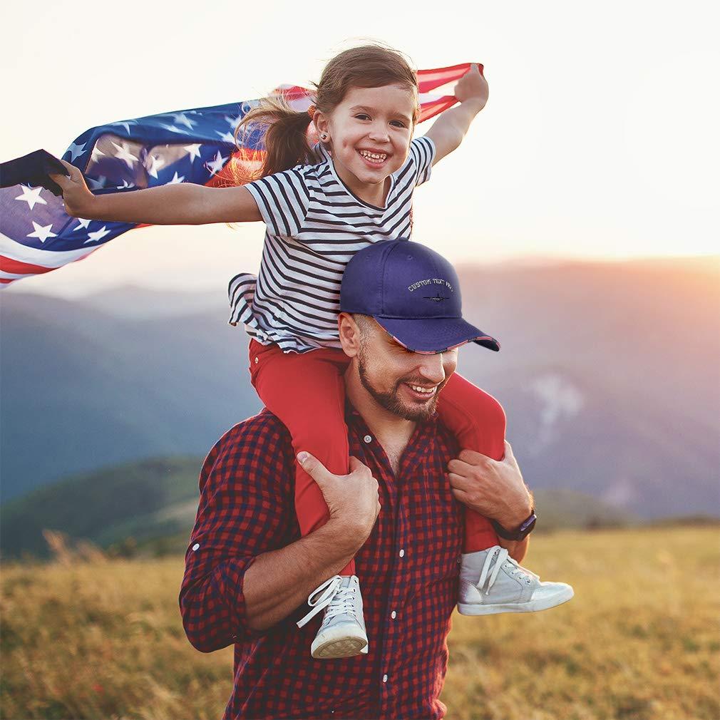 Custom American Flag Hat AC-130 Gunship Outline Plane Embroidery Design Cotton