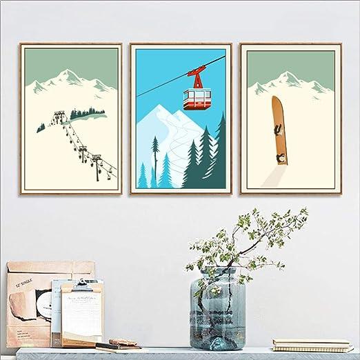 woplmh Deportes de Invierno Esquí Arte Cartel Lienzo Pintura ...