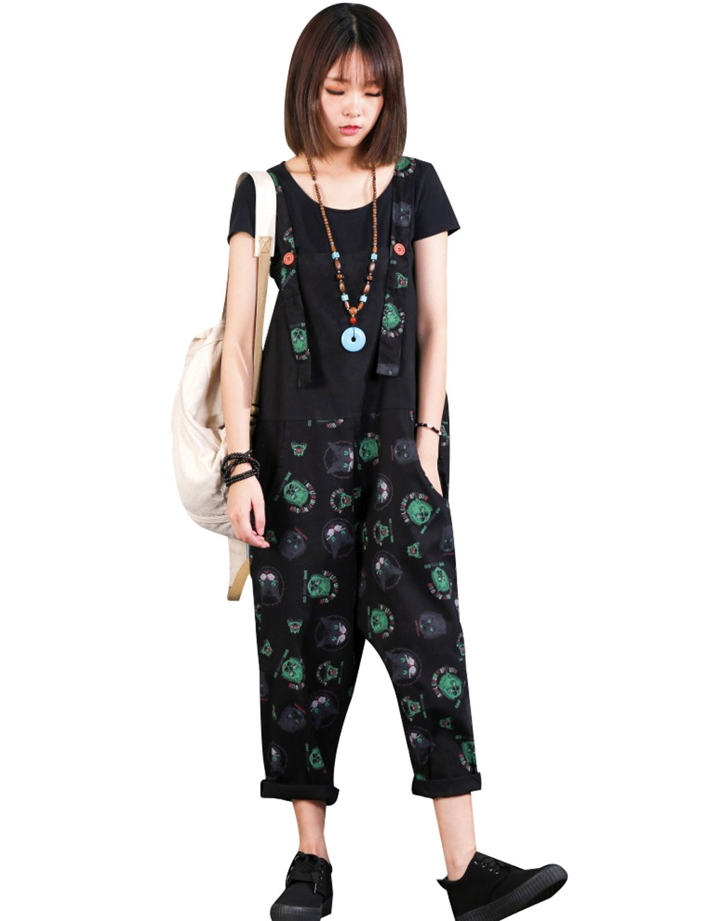 Zoulee Women Strap Rompers Jumpsuits Denim Casual Bib Pants Floral Wide Leg Cropped Pants Overalls Style 4 Black