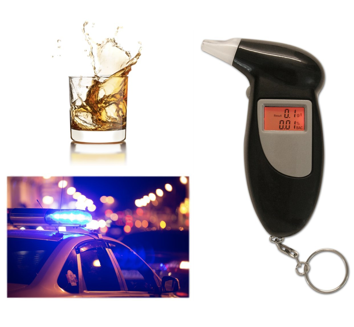 Professional Breathalyzer Keychain by Emerywood: Alcohol Tester Red Backlit Breath Analyzer Portable High-Precision Breathalyzer with LCD Display and Replacement Mouthpieces by Emerywood (Image #3)