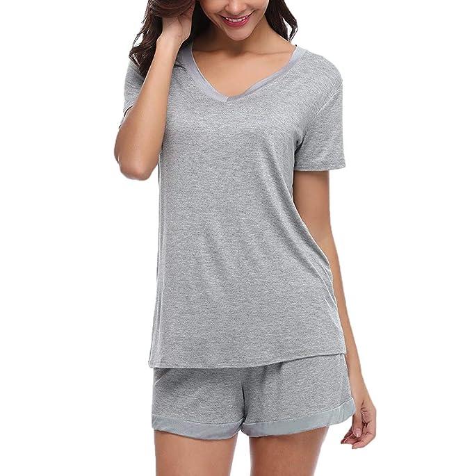 Conjunto de Pijamas de algodón de Verano para Mujeres Conjunto de Camisetas y Pantalones Cortos de Manga Corta Conjunto de Dormir de algodón Femenino de ...