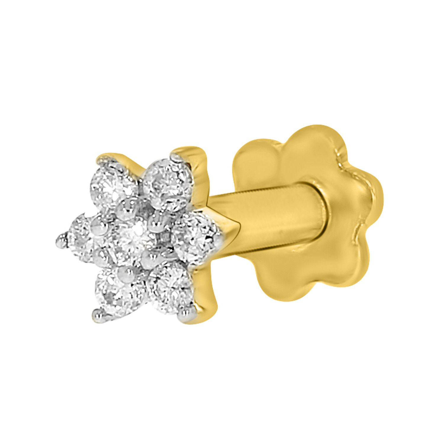 Diamond Flower Nose Piercing Pin Screw Ring Stud 4.25mm 14k Yellow Gold 19 Guage (GHColor/I1-I2Clarity)