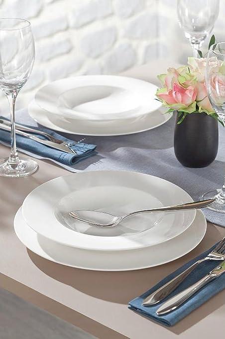 Villeroy & Boch Servicio Platos blanco 12 piezas + Cubiertos Piemont 16 unidades (X 4