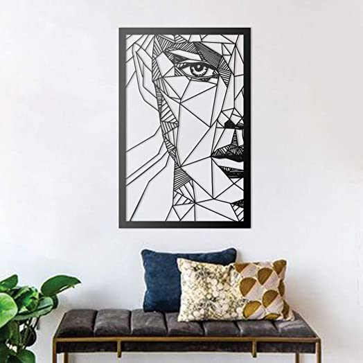 Metal Abstract Woman Face Left Wall Decor