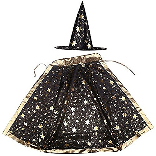 Jesban Black/Gold Cape Cloak with Witch Hat, Halloween Costume Party Dress Cloak for Magician Jafar, 35 Inches