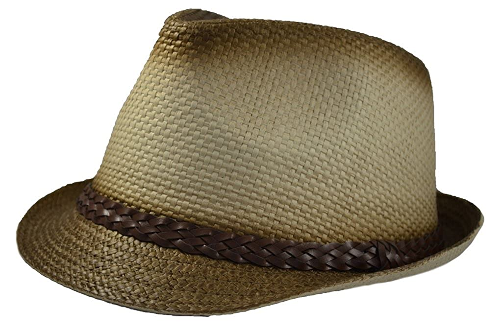 Paper Straw Fedora with Brown Band L/xl Natural