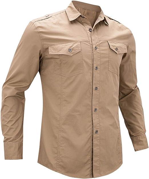 Shenhai Camisa de los Hombres Camisa de Ocio al Aire Libre Camisa de Manga Larga de algodón, Caqui, 4XL: Amazon.es: Hogar