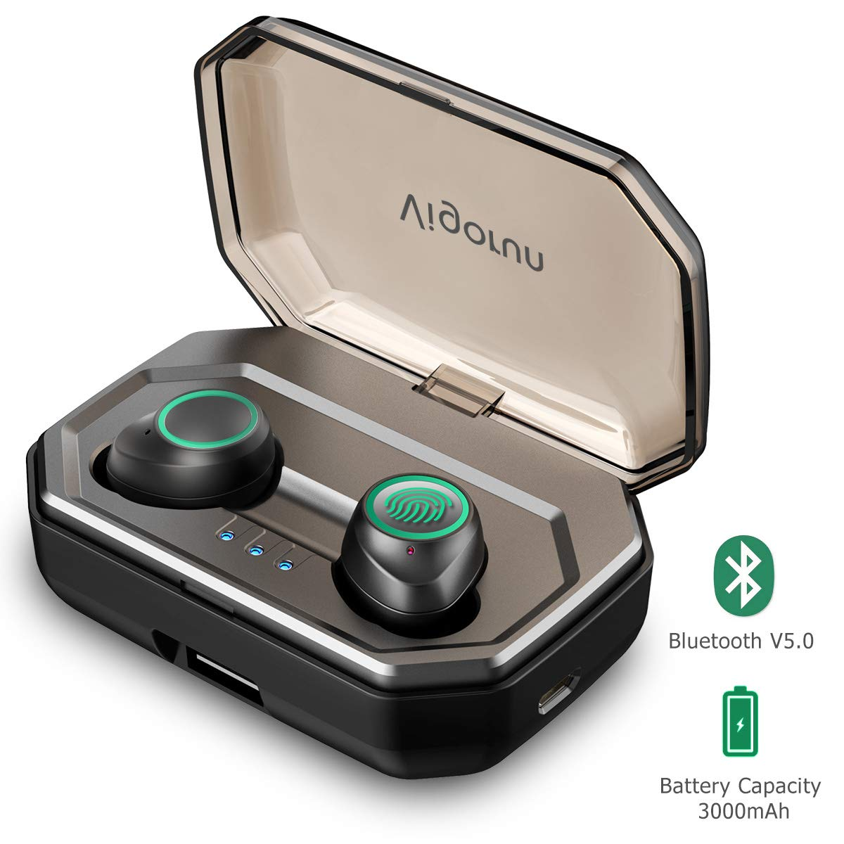 Auricolari Bluetooth 5.0 Vigorun Cuffie Bluetooth Wireless Senza Fili 3000mAh Custodia da Ricarica 100ore