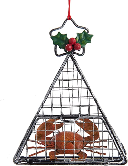 Kurt Adler Wire Hanging Cage With Crab Christmas Ornament