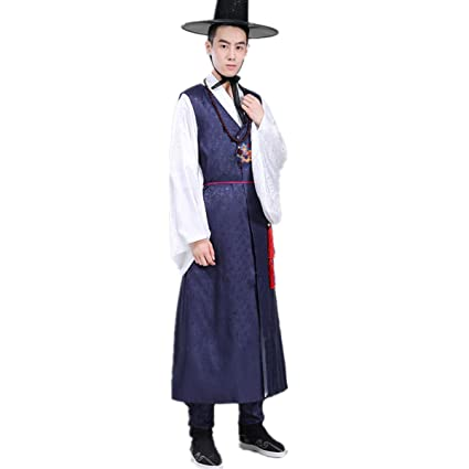 4922f18e37 XINFU Men's Korean Traditional Long Sleeve Classic Costume Hanbok Sets:  Amazon.co.uk: Clothing
