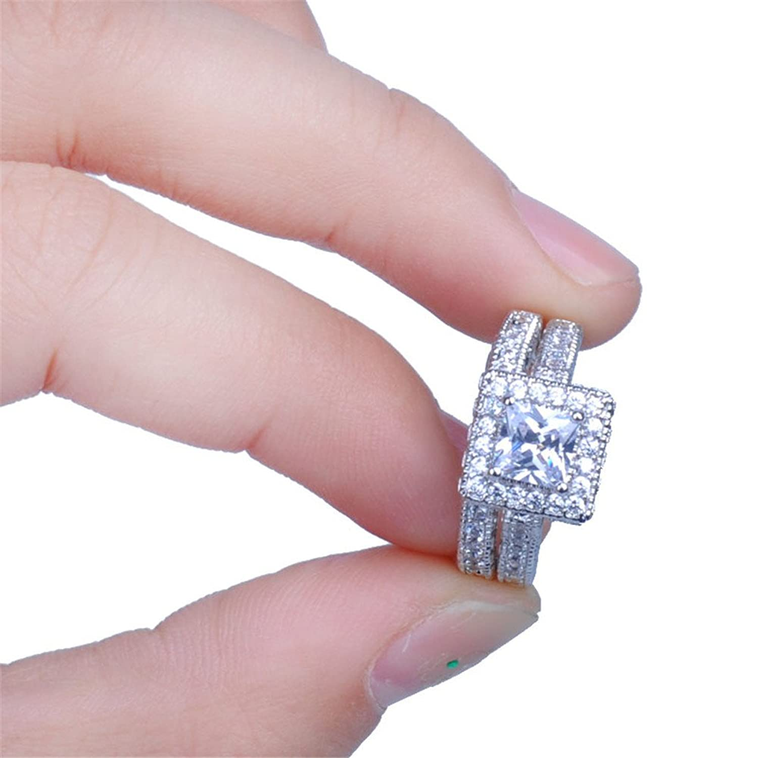 Amazon.com: JunXin jewelry 66MM White Gold Cushion Cut Diamond ...