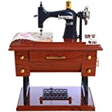 Amiley Musical Boxes , Vintage Music Box Mini Sewing Machine Style Mechanical Birthday Gift Table Decor (Multicolor)