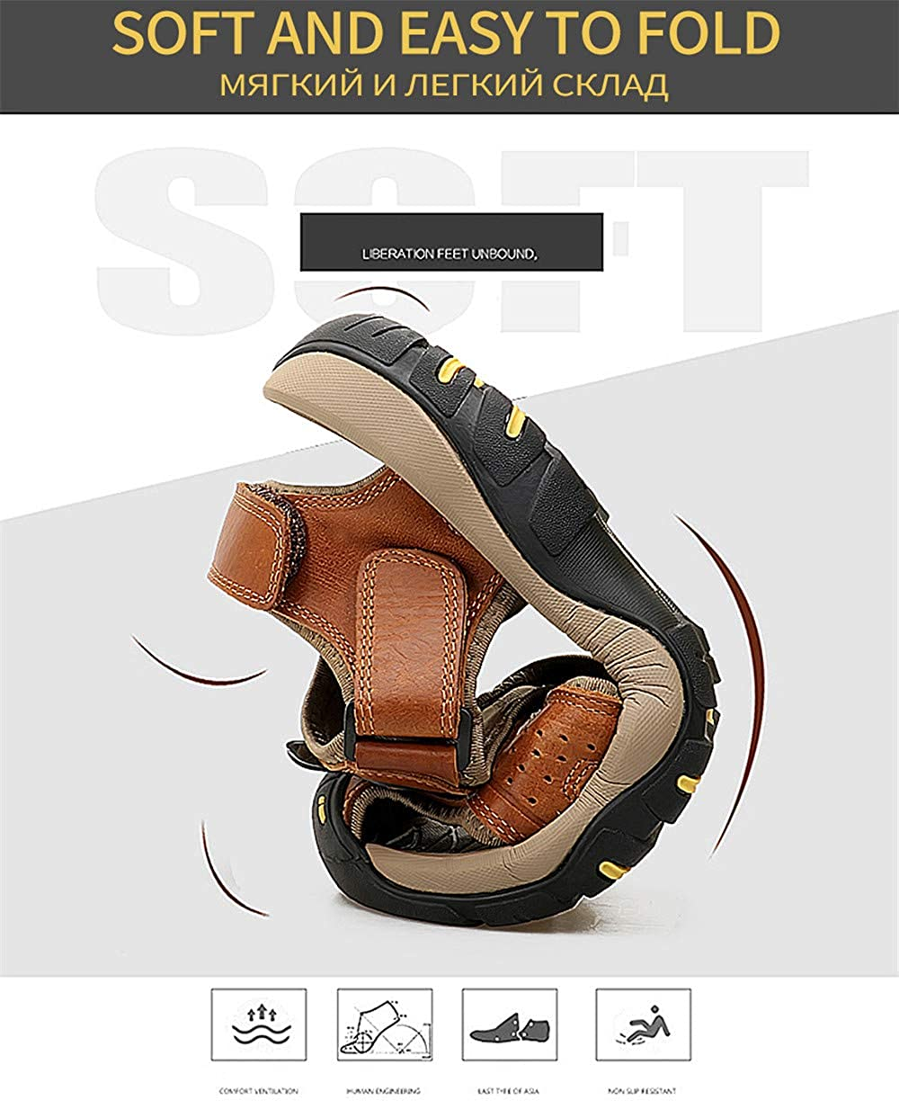 Summer Genuine Leather Sandals Men Casual Shoes Sneakers Outdoor Beach Shoes Native Male Rubber Sole Sandals Sport