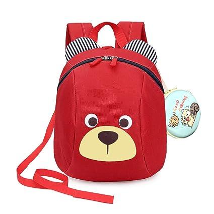MCUILEE Mochila para Niños/PequeñA Bebes Guarderia Bolsa con Arneses de Seguridad,Rojo