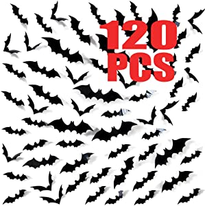 120 Pack Halloween 3D Bats Decoration, Hallowmas Party Supplies Scary Bat Sticker for Home Decor DIY Window Decal Bathroom Indoor