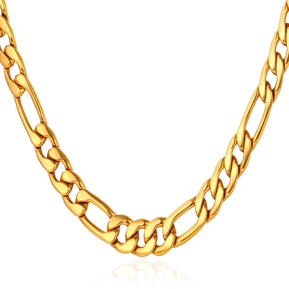 U7 Necklce Wear Alone or with Pendant Preminum Fashion Jewelry 18K Gold Plated Stainless Steel 5mm Figaro Chain 22''