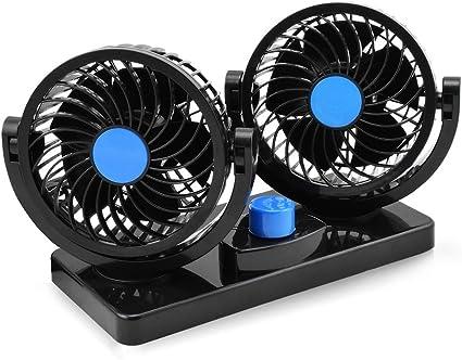 Taotuo 12V ventilador de coche eléctrico de 360 grados rotativo 2 velocidad doble cabeza de ventilador de aire de circulación de aire del ventilador para camiones SUV RV barco de vehículos: Amazon.es: