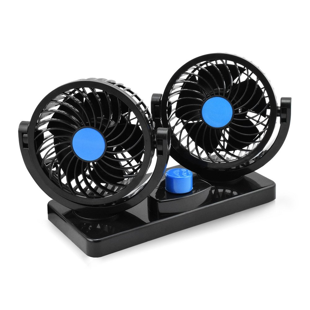 Taotuo 12V Electric Car Fan 360 Degree Rotatable Dual Head Car Auto Cooling Air Circulator Fan for Van SUV RV Boat Auto Vehicles HAITIANLI