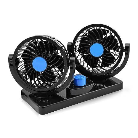 Taotuo 12V ventilador de coche eléctrico de 360 grados rotativo 2 velocidad doble cabeza de ventilador
