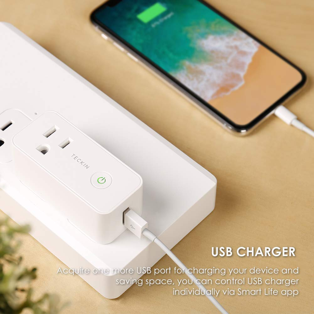 Smart Plug Wifi Outlet USB mini Socket Compatible with Alexa, Google Home& IFTTT, Schedule Timer Function Control Electric Allliances Devices, Prevent Overcharging 2 Pack