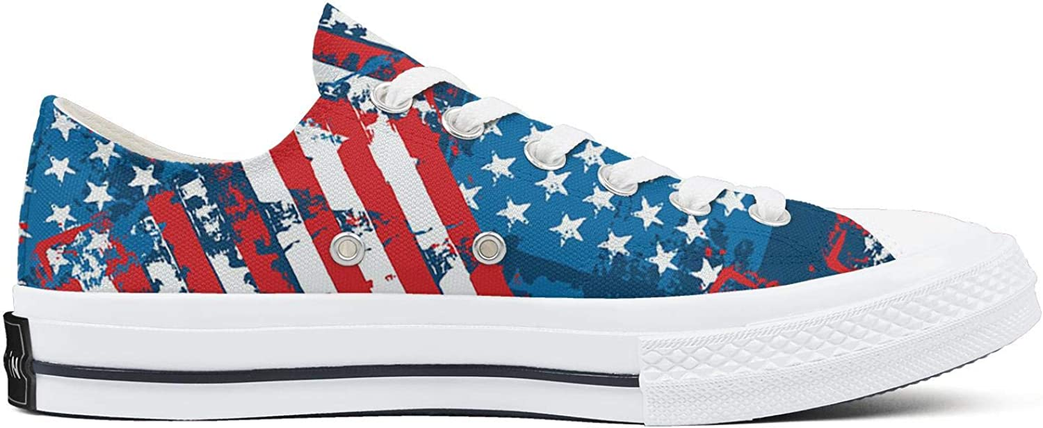 Hjdfene Womens Distress Painted American Flag Canvas Shoes Low-Cut StrapsLeisure Funky Sneakers Suitable for Walking