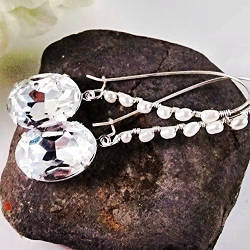 3 Inch Long Modern Crystal Earrings with White Cultured Freshwater Pearls. Women's Fashion Statement Earrings for Wedding and Prom.