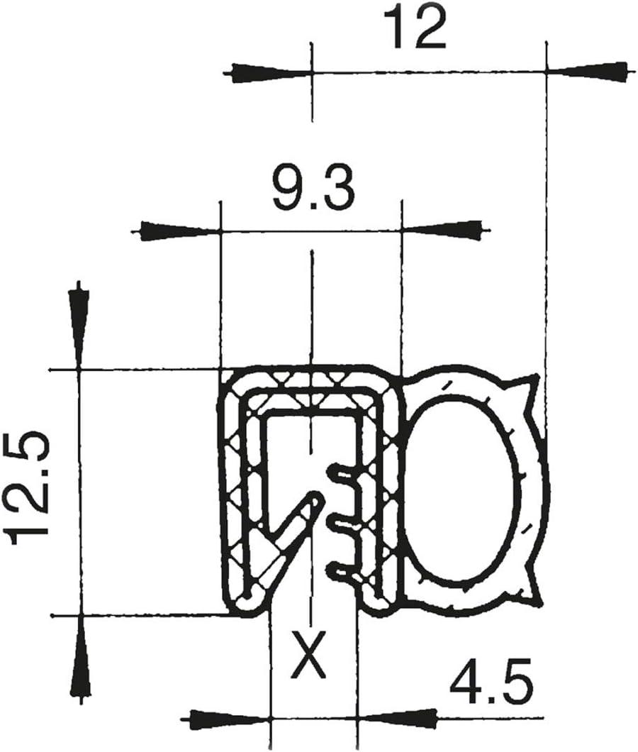 DS7 Dichtungsprofil von SMI-Kantenschutzprofi mit seitlicher Dichtung aus EPDM Moosgummi Klemmbereich 1,5-3,5mm selbstklemmend ohne Kleber 5 m einfache Montage Klemmprofil aus weich PVC
