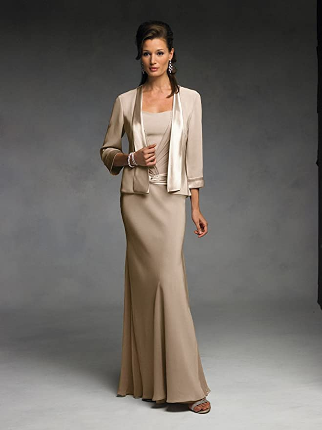 fe39b50651f2 Newdeve Two Pieces Sheath Chiffon Maxi Beige Mother Of The Bride Gowns at  Amazon Women's Clothing store: