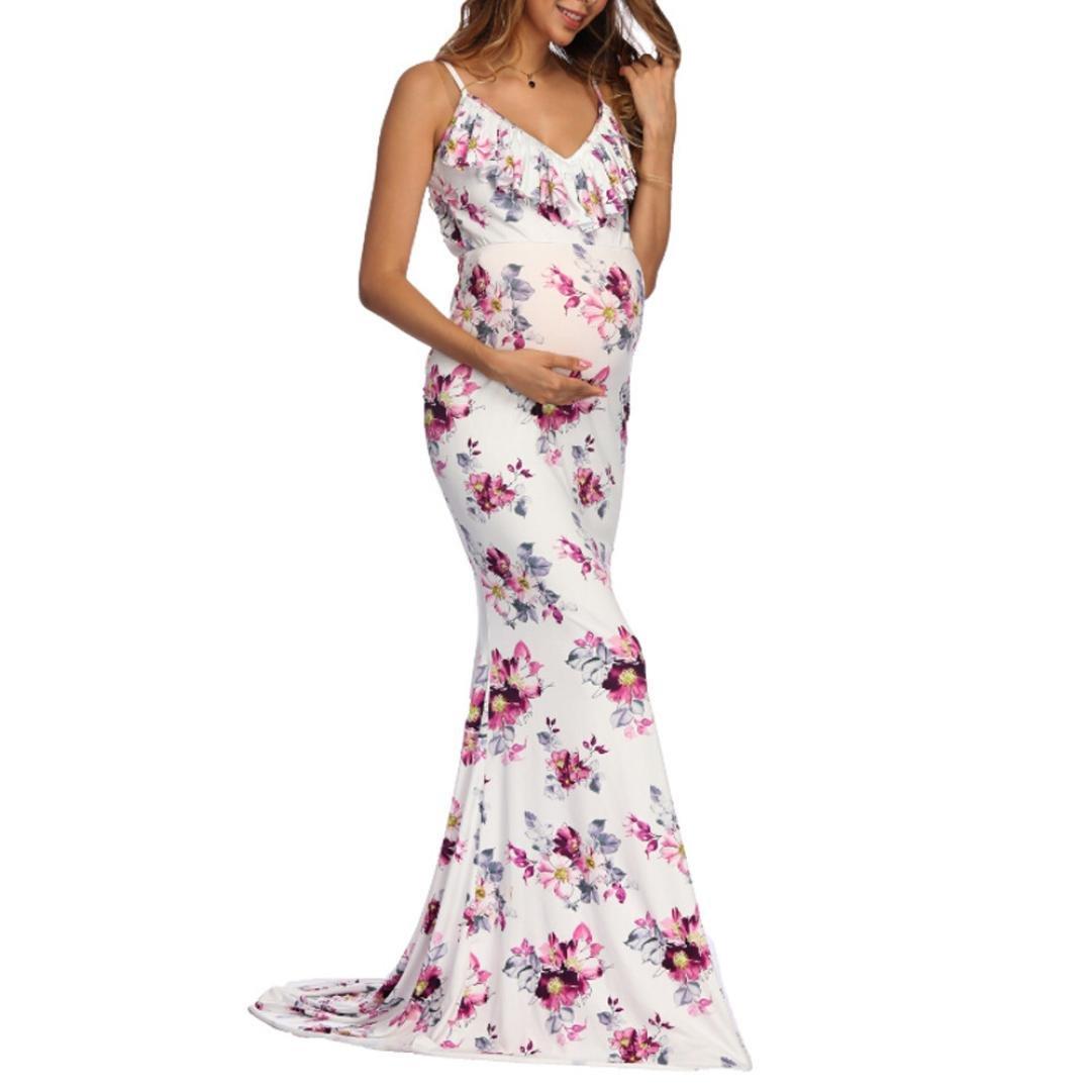 M vestido de la mujer embarazada hermosa atractiva de las mujeres Falda Fotograf/ía de manga larga con cuello en V profundo Encaje ver-por maternidad Maxi vestido de azul