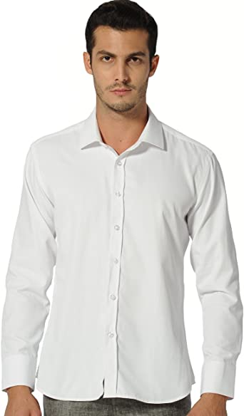 SSLR Camisa Hombre para Traje Manga Larga Mens Twill Dress Shirt (Small, Blanco): Amazon.es: Ropa y accesorios