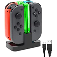 Estación de carga para mandos Joy-con Switch - Switch Pro Controller Dock, Multi Estación de Carga [ con Luces LED y Cable USB Type C ] - Para cargar hasta CUATRO Joy-ConsSwitch (o 2 Pro Controller y 4 Joy-Cons)