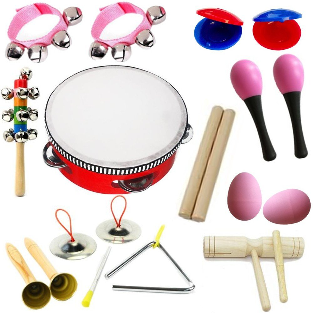 Hot New 11pcs Novelty Kids Roll Drum Musical Instruments Band Kit Children Toy Baby Gift Set by Lebbeen