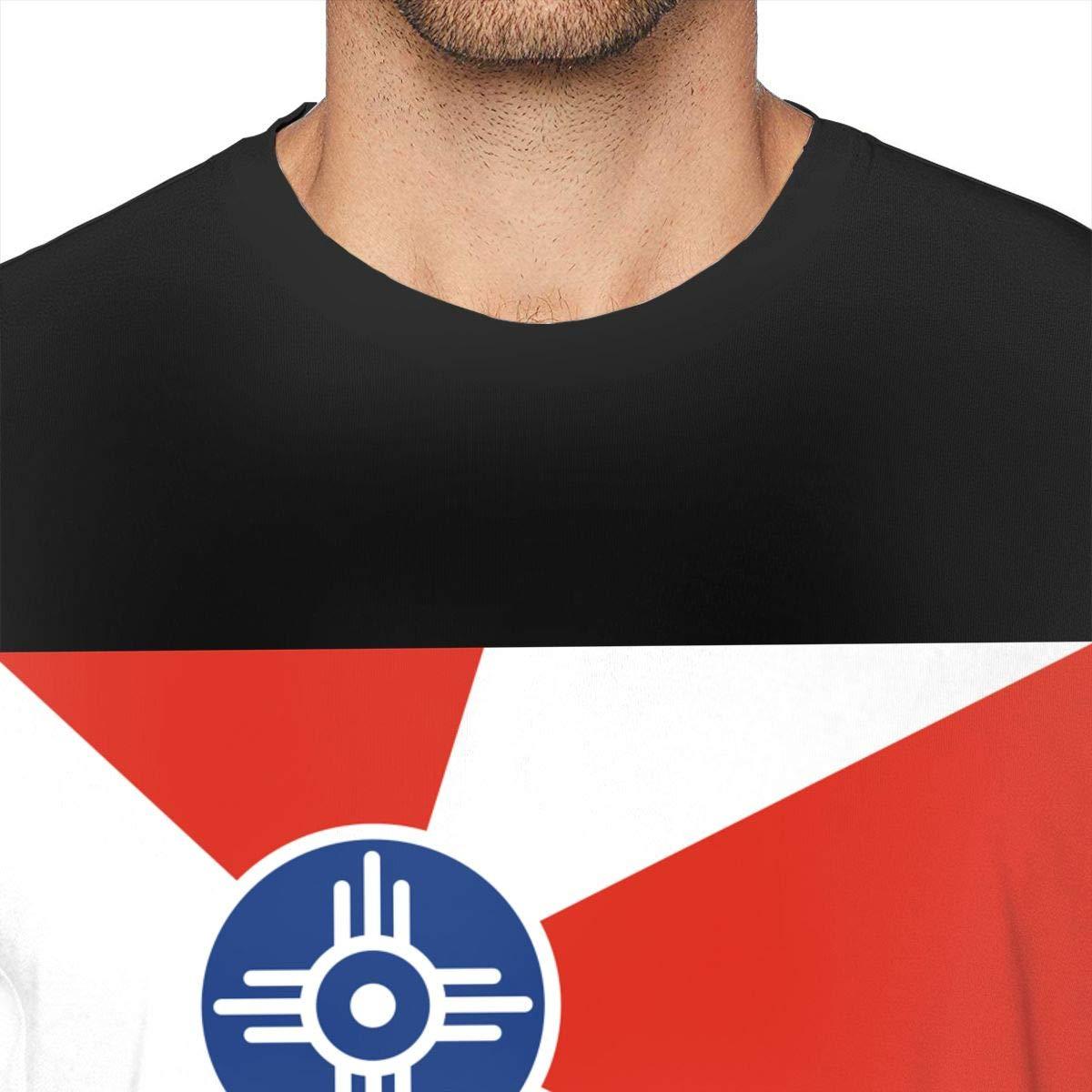 MSKKLA Flag of Wichita Strapped T-Shirt Mens Summer O-Neck T-Shirts Tees Plus Size