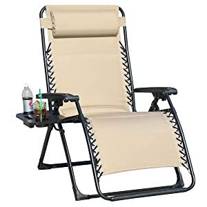 GOLDSUN Oversize Padded Zero Gravity Patio Lounge Chair Adjustable Recliner with Side Table Support 350lbs-Beige